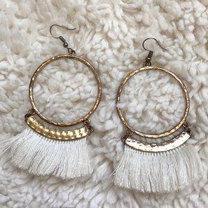 🌻 Gold Hoop Tassel Earrings
